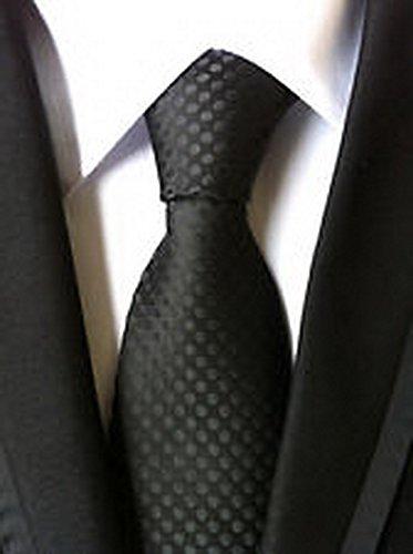 [Calvinci - Classic Polka Dot Black JACQUARD WOVEN 100% Silk Men's Tie Necktie TGIN 120136] (Classic Playboy Bunny Costume Black)