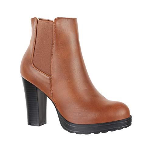 9 absatz Mujer Tacón Cm Ayan Plateau Chunkyr Boots Moderna Camel Elara Ca Botines Ankle 8 Block wPTOxO
