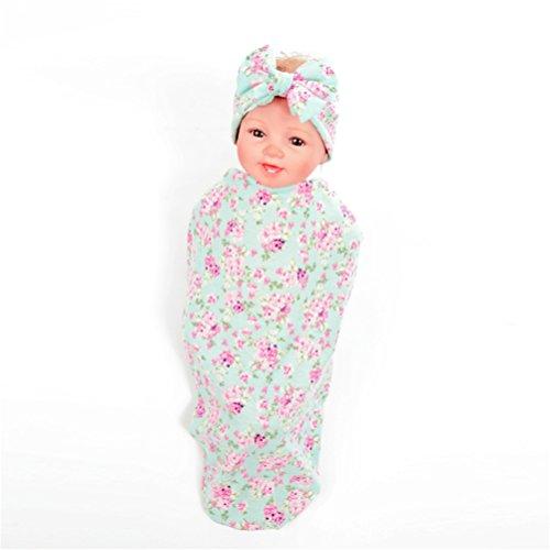 Rabbit Bowknot (Hcside Baby Swaddle Cotton Wrapped Blanket Floral Print Rabbit Ears Elastic Bowknot Headband Set (Green))