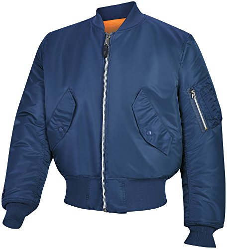 Valley Apparel LLC Made in USA Men's MA-1 Nylon Flight Jacket, Replica Blue (True Navy), XL ()