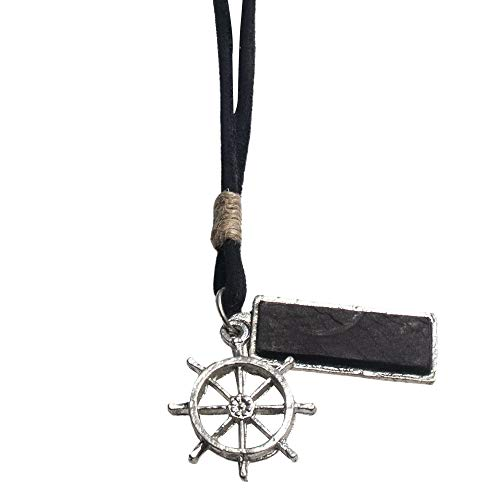 (EBSEM Marine and Sealife Necklace, Genuine Leather Cord Surfer Jewelry for Men & Women (Boat Steering Wheel))
