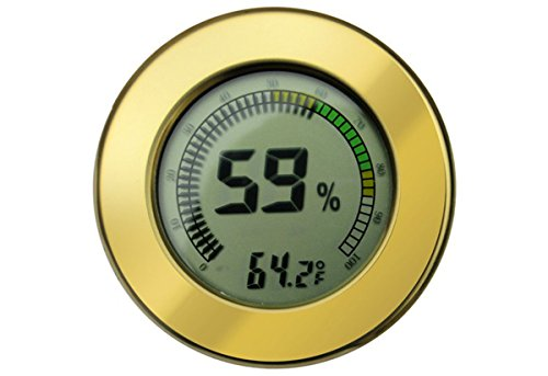 Digital Mountable Hygrometer w/ Calibration for Cigar Humidors - Color Gold