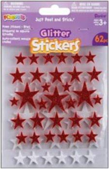 Foam Glitter Stickers 62/Pkg-Stars-Red/White 1 pcs sku# 657165MA