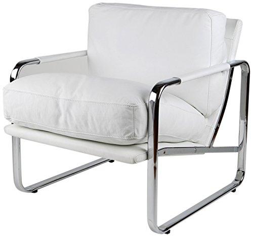 Magis Modern Chair (Whiteline Modern Living CH1071P-WHT Magi Faux Leather Chair with Chrome Frame, White)