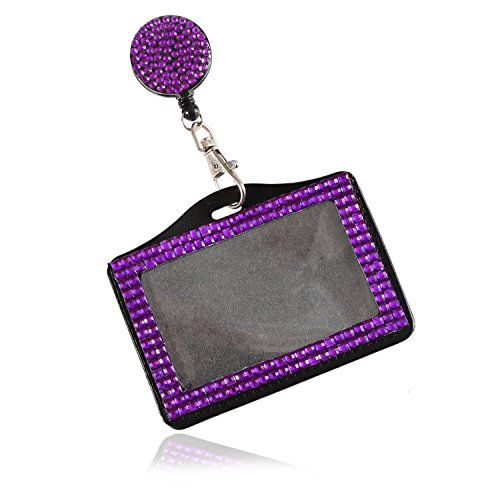 Purely Handmade Fashion Retractable Purple Bling Crystal Strap Neck Lanyard Cute Rhinestone Badge Holder+Jeweled Horizontal Business Name ID Card Holder+Beaded Badge Reel Clip (Reel Badge Jeweled)