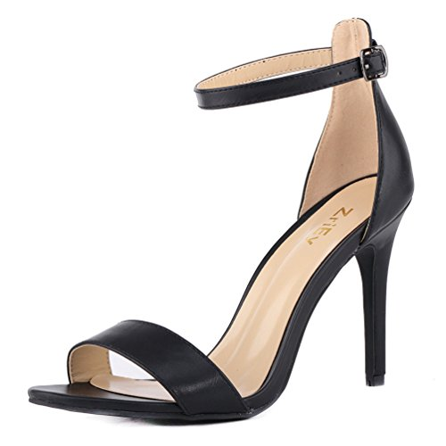 (ZriEy Women's Heeled Sandals Ankle Strap High Heels 10CM Open Toe Bridal Party Shoes Black Size 6)