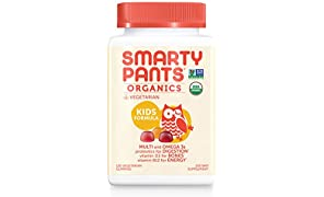 Daily Organic Gummy Kids Multivitamin: Probiotic, Vitamin C, D3 & Zinc for Immunity, Biotin, Omega 3 Fish Oil, Selenium, B6 & B12 for Energy by SmartyPants 120 Count (30 Day Supply)