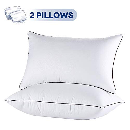 Size Pillow King Bed (JOLLYVOGUE 2 Pack Bed Pillows for Sleeping-Hypoallergenic Pillow for Side and Back Sleeper Hotel Pillows Down Alternative Sleeping Pillows with Super Soft Plush Fiber Fill-King Size)