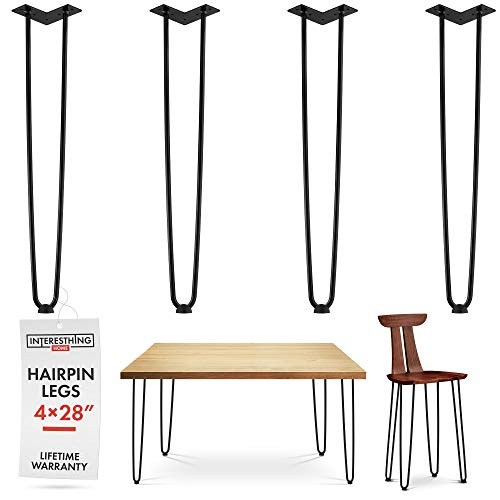 (28 Inch Hairpin Legs - 4 Easy to Install Metal Legs for Furniture - Mid-Century Modern Legs for Dining and End Tables, Chairs, Home DIY Projects + Bonus Rubber Floor Protectors by INTERESTHING Home)