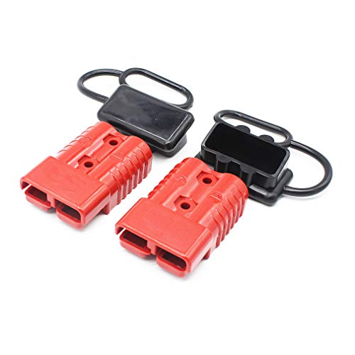 X-Haibei Pair 350 amp 2/0 Gauge Battery Quick Connector Red | 2/0 AWG Winch Quick Connector | Jumper Cables Connect Disconnect Plug w/Waterproof Caps for Trailer