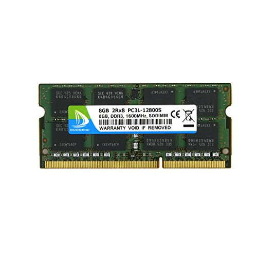 (DUOMEIQI 8GB DDR3/DDR3L1600MHz Sodimm 2RX8 PC3/PC3L-12800S 204pin 1.35v / 1.5v CL11 Unbuffered Non-ECC Notebook Memory Laptop RAM Module for Intel AMD and Mac System)