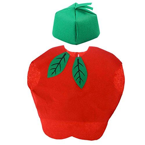 LUOEM Kids Fruit Vegetables Costume Children Party Cosplay Clothing for Children Toddler Boys Girls (Apple)
