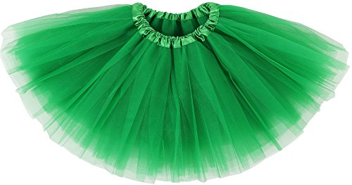 (Simplicity Girl Elastic Shining Pettiskirt Layers Tulle Tutu Skirt,Sante Green)