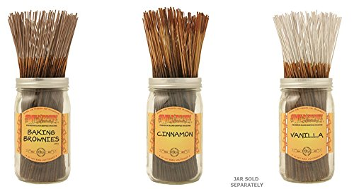 Wildberry Incense Sticks Best Seller Set of 3 Scents - Baking Brownies, Cinnamon, Vanilla (Pack of 100 Each, Total 300 Sticks)