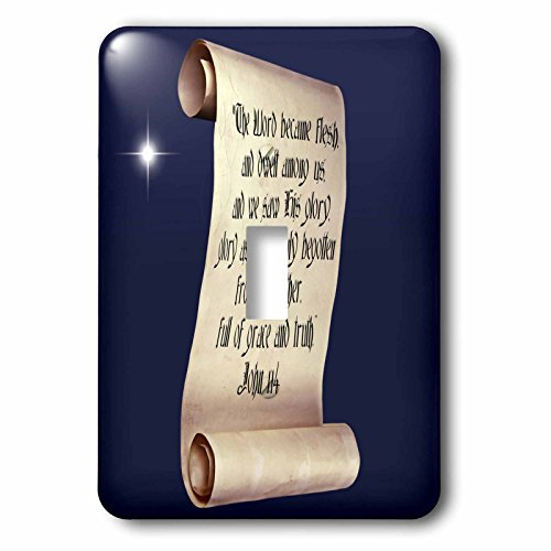 3dRose lsp_165733_1 John 1 Verse 14 on a Scroll with Christmas Star Light Switch Cover ()