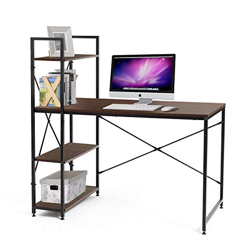 (Bestier Computer Desk Home Office Writing Study Wooden Table Workstation with 4 Tier Bookshelves Brown)