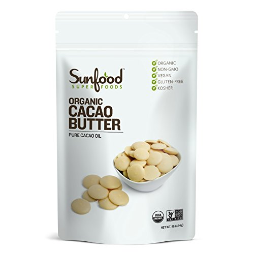 Sunfood Superfoods Organic Cacao Butter. 100% Pure Cacao Bean Oil, Chocolate Taste. Keto Coffee, Smoothies, Dessert, Ice Cream. Ideal for Cooking & Baking. Use as Skin-Care For Healthy Glow 1 lb Bag