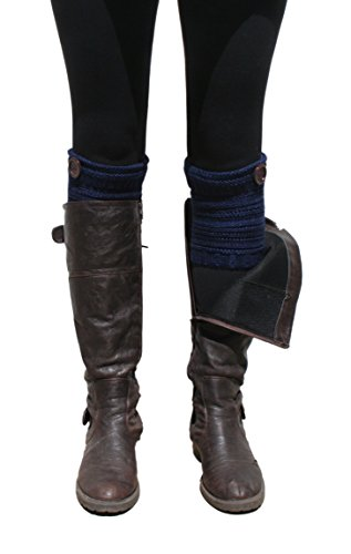 Blue 55 Cute Tweed Knit Hand Mitten Gloves w/ Thumbhole and Leg Warmer Boot Cuffs (Navy Button Boot Cuffs) (Knit Tweed)
