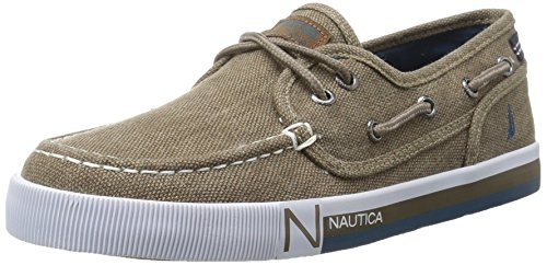 Nautica Boys' Spinnaker Boat Shoe, Oyster Brown Washed, 2 M US Little Kid