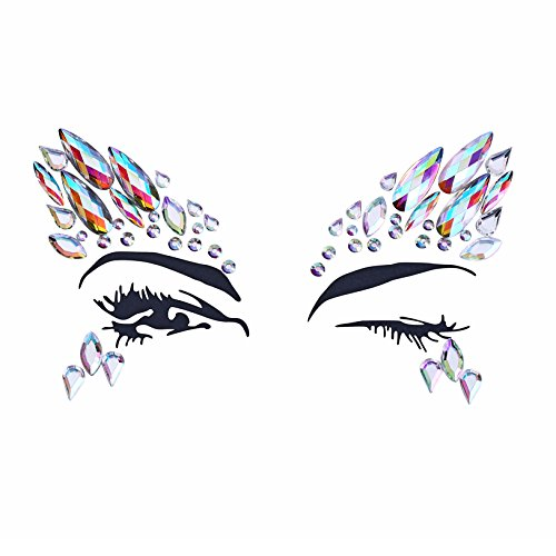 8 Sets Women Gems Glitter Rhinestone Mermaid Face Jewels Tattoo Crystal Tears Gem Stones Bindi Temporary Stickers by du fangbin (Image #2)