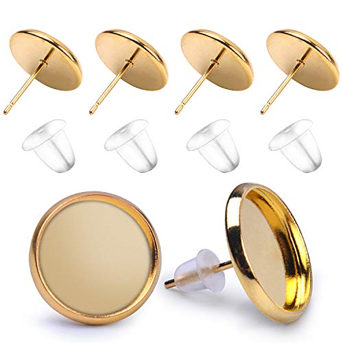 BronaGrand 50 Pieces Stainless Steel Stud Gold Earring Cabochon Setting Post Cup for 12mm and 50 Pieces Clear Rubber Earring Safety -