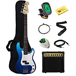 Stedman Beginner Series Bass Guitar Bundle with 15-Watt Amp, Gig Bag, Instrument Cable, Strap, Strings, Picks, and…