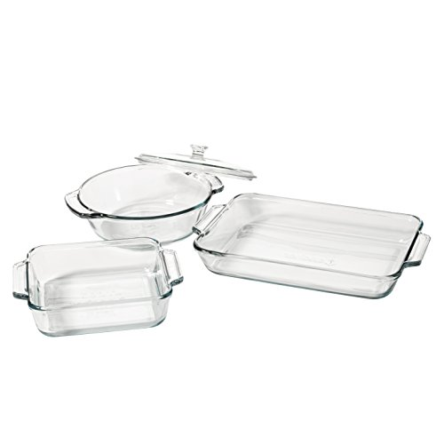 Anchor Hocking Oven Basics 4-Piece Glass Bakeware Set with Square Cake Pan, Rectangular Baking Dish, and Casserole Crock with Lid