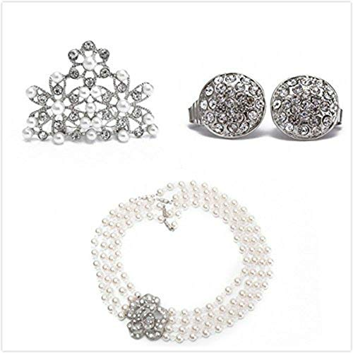 Utopiat Flapper Costume Jewelry Set-Audrey Hepburn Breakfast at Tiffany's Bridal Pearl Jewelry Set for Age 2-7]()
