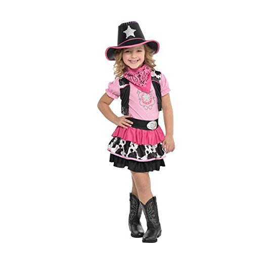 Black Costumes Cowgirl (Wild Wild West Party Pink and Black Cowgirl Costume, Polyester Fabric, Children's Large (12-14), 1-Piece)