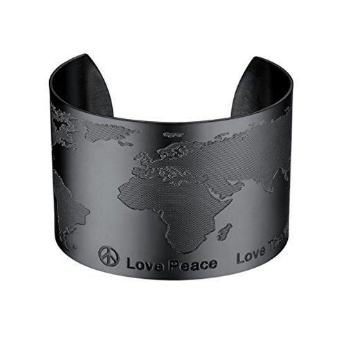PROSTEEL World Map Bracelet Ethiopian Jewelry Love Peace Map Bangles for Women Big Wide Black Bracelet