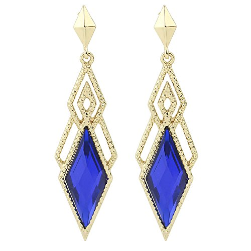 inestone Splicing Long Dangle Earrings For Women Girls (Blue) ()