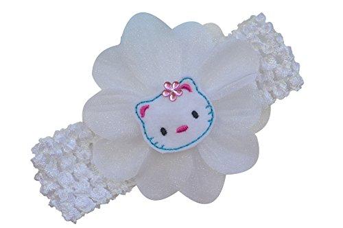 Baby Girl Crochet Headband with Felt Kitty Silk and Organza Flower Funny Girl Designs (White)