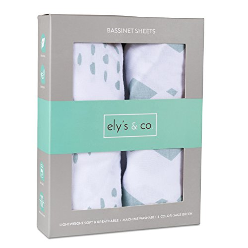 - Bassinet Sheet Set 2 Pack 100% Jersey Cotton for Baby Girl and Baby Boy by Ely's & Co. - Sage Green Diamond Design by Ely's & Co. (Bassinet)