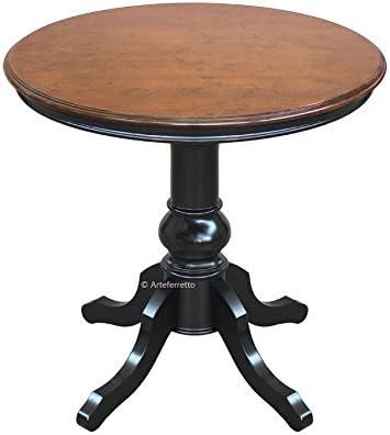 Arteferretto Table De The Ou De Salon Ronde Avec Pied Central En