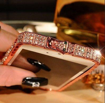 iPhone 6 Plus Cover iPhone 6/iPhone 6s Plus Caso In alluminio La cornice Cristallo Strass Assorbimento degli urti Protettore-Serpente-Oro Rosa 5.5 Pollici