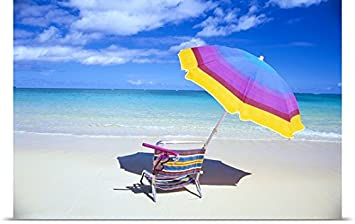 Bill Brennan Poster Print entitled Beach Chair And Umbrella With Snorkel Gear, Turquoise Ocean And