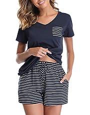 Vlazom Women's Pajama Sets V-Neck Short Sleeve Pjs Set Striped Solid Sleepwear with Pockets