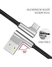 Certified USB Type C Cable, Right Angle Braided Android Phone Charger USB 2.0, 1.2M 3.9ft for Samsung Galaxy S9 S8 Note 8, Pixel, LG V30 G6 G5, Nintendo Switch, OnePlus 5 3T (Black 1 Pack)