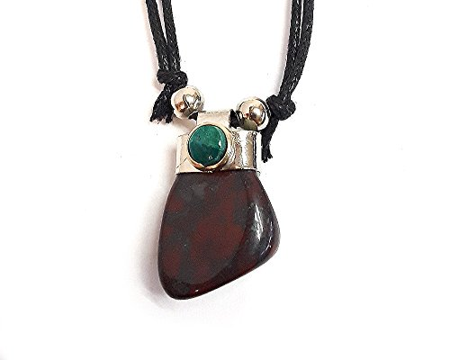 Tumbled Stone Pendant Necklace (Dark Red Bloodstone)