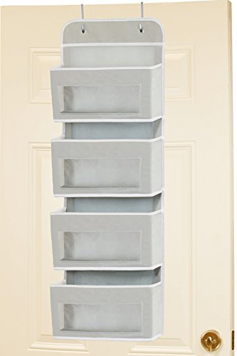 Simplehouseware Over Door/Wall Mount 4 Clear Window Pocket Organizer, Gray