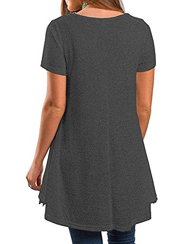 Girocollo Maglietta Top Maglia Shirt Corte Camicetta Grigio Guiran Manica Donna Elegante Taglie shirt T Pizzo Forti 0qxwUITa