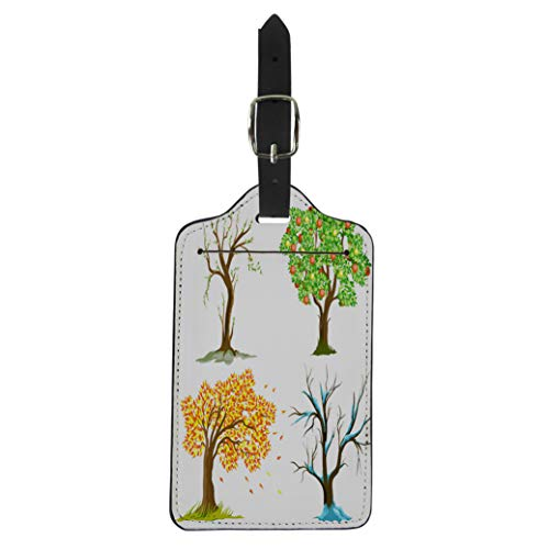 Semtomn Luggage Tag Green Autumn Apple Tree Orange Fall Four Winter Summer Suitcase Baggage Label Travel Tag Labels