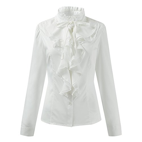 Women Stand-Up Collar Lotus Ruffle Shirts Vintage Victoria Long Sleeve Blouse (US 12 (Tag XXL), Off-White) (Sleeve Ruffle Long Blouse White)