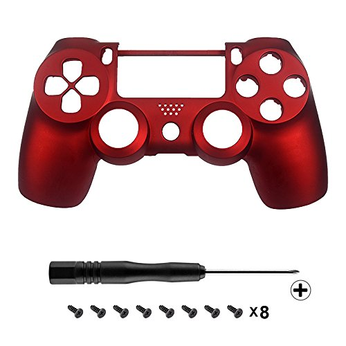 eXtremeRate Red Soft Touch Replacement Shell Front Faceplate Cover for PlayStation 4 PS4 Controller Generation 1 and Generation 2