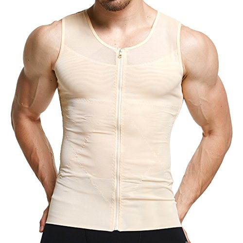 GKVK Men's Slimming Shirt Body Shaper Tank Top Front Zipper Corset Vest ()