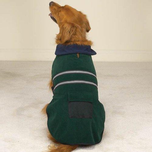 Casual Canine Velvet/Polyester Large Reflective Dog Jacket, 20-Inch, Hunter Green