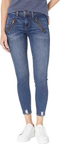 KUT from the Kloth Women's Connie Ankle Zip Front Welt Pocket Skinny Jeans in Pardon w/Dark Stone Base Wash Pardon W/Dark Stone Base Wash 6 27