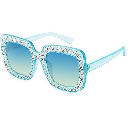 Elton John Glasses Square Rhinestones Sunglasses Oversized Diamond Shades (Blue, 67) (Big Shades)