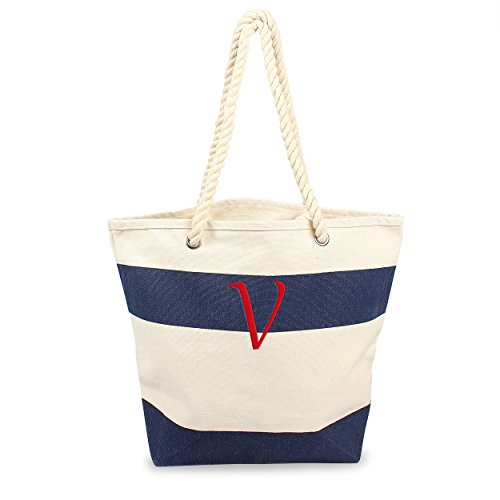 Cathy's Concepts Personalized Striped Canvas Tote with Rope Handles, Navy, Letter V (Striped Personalized Canvas)