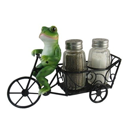 """Zesty Ride"" Frog On A Bicycle Salt And Pepper Shaker #250"